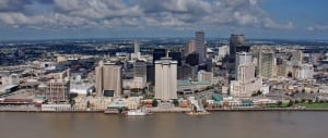 Aerial Photography, New Orleans Spanish Plaza Skyline